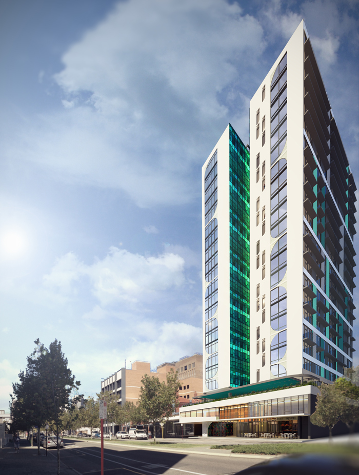 The new 22-storey student accommodation tower on Stirling Street, Perth. Image supplied by Stirling Capital.
