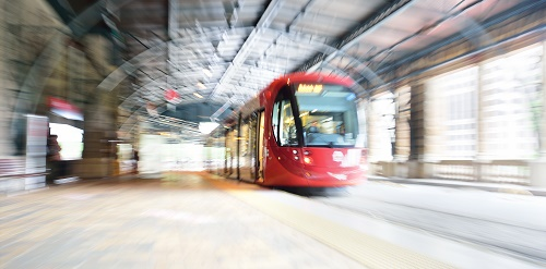 Sydney Tram, at railway station. Blurs made in camera, not post processing.